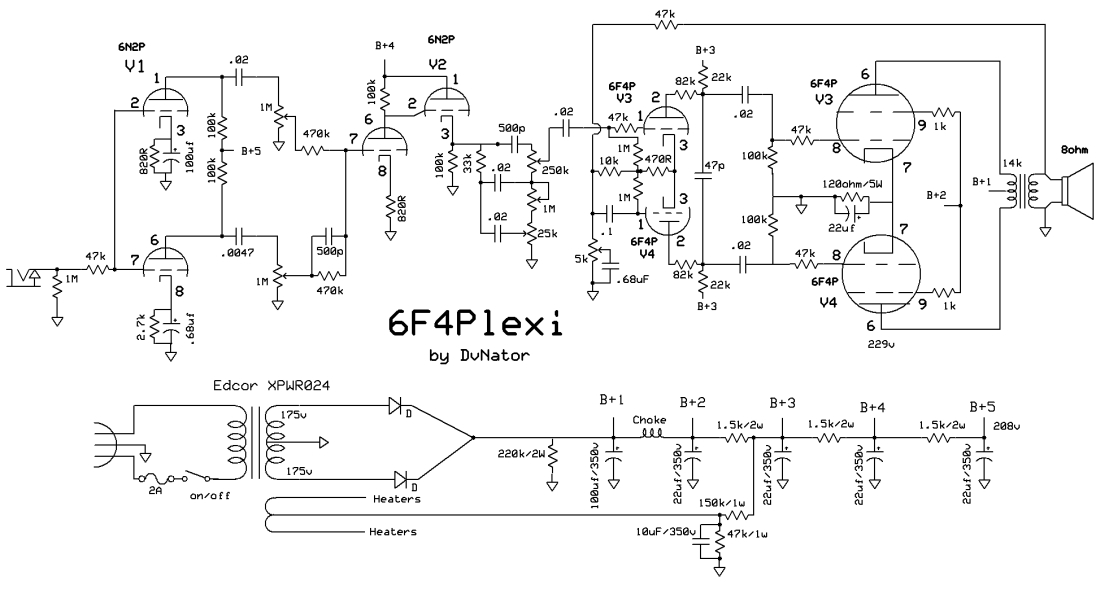 6f4p plexi dvnator s amp projects rh chasingtone com Plexi Marshall Circuit Marshall Plexi Kit