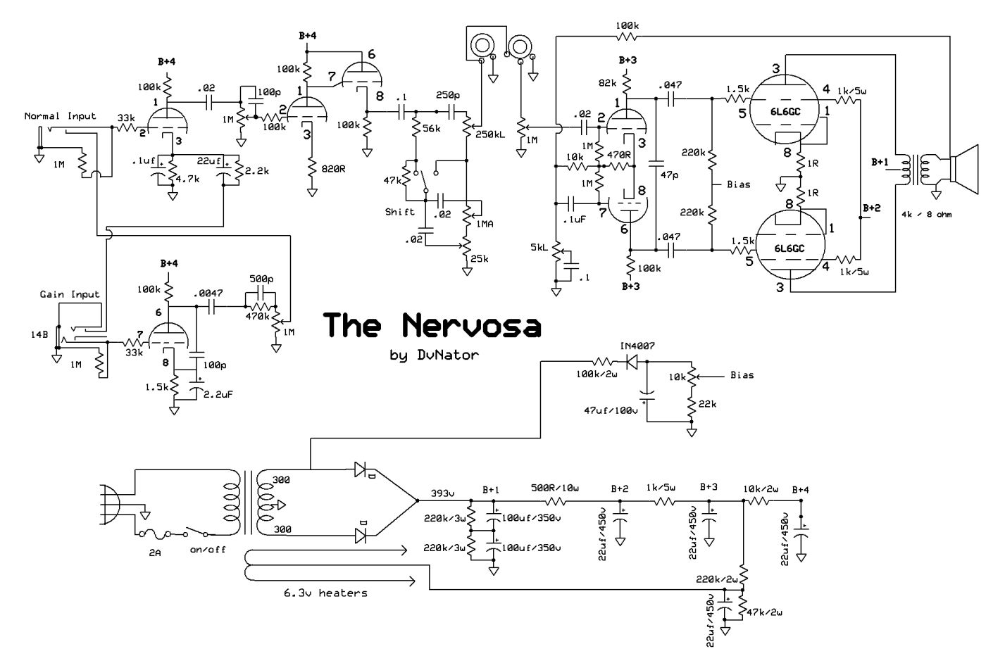 Dvnators Amp Projects Tube Guitar Stuff Crunch Wiring Diagram Heres The New Schematic